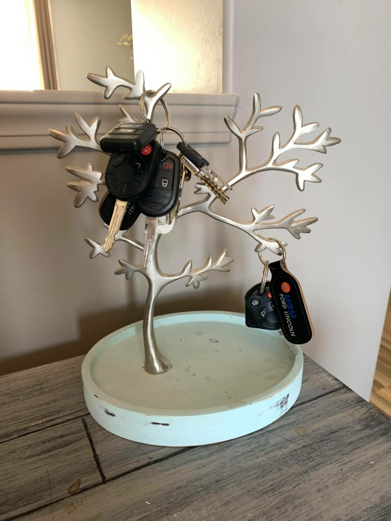 Key Tree Repurpose Old Jewelry Holder into Key Holder